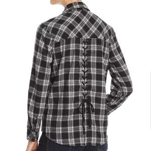 Billy T | Lace Up Back Plaid Button Down